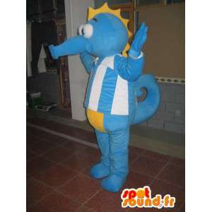 Mascotte costume blu ippocampo - marine animal Costume-
