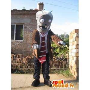 L uomo con il vestito robot mascotte e cravatta