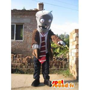 Man with robot mascot suit and tie