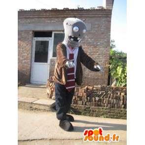 L uomo con il vestito robot mascotte e cravatta - MASFR00418 - Umani mascotte