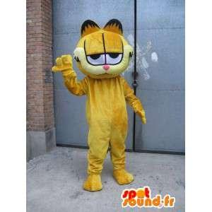 Maskot berømte katt - Garfield - gul drakt kveld