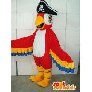 Rosso e giallo mascotte Eagle con cappello da pirata - festa in maschera