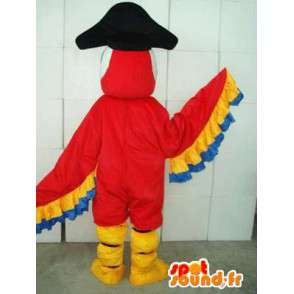 Red & Yellow Eagle mascot with hat pirate - Costume party - MASFR00171 - Mascot of birds