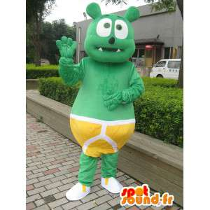 Mascotte bébé monstre vert à culotte jaune - Peluche costume baby