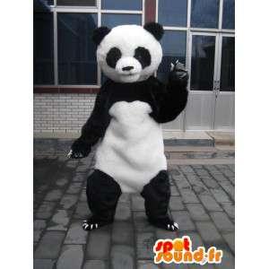 クラシックな黒と白のパンダのマスコットぬいぐるみ-イブニングコスチューム-MASFR00212-パンダのマスコット
