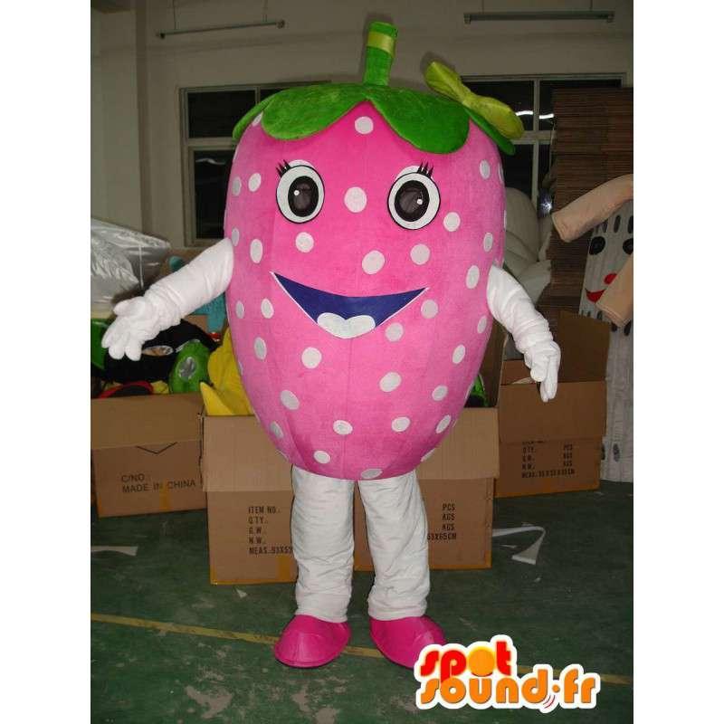 Mascot rosa morango com ervilhas verdes - frutas Disguise verão - MASFR00313 - frutas Mascot