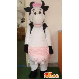 Koe mascotte grote roze en vrouwelijk melk met vlinderdas