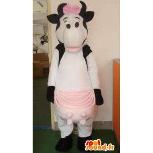 Milk cow mascot big pink bow tie and female with