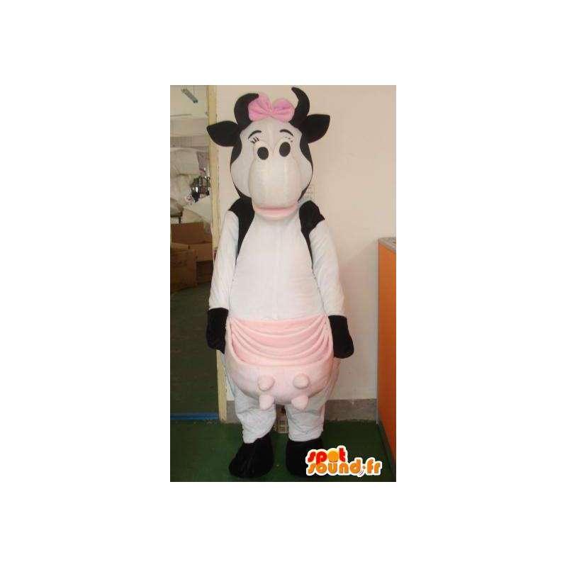 Mascotte vache grand lait rose et féminine avec noeud papillon - MASFR00322 - Mascottes Papillon