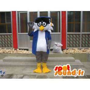 Professor Linux mascot - Bird with accessories - Fast shipping - MASFR00421 - Mascot of birds