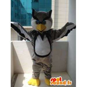 Gray owl mascot majestic and colorful - Plush Grey and yellow