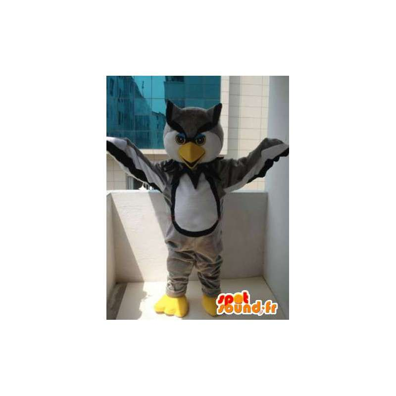Gray owl mascot majestic and colorful - Plush Grey and yellow - MASFR00330 - Mascot of birds