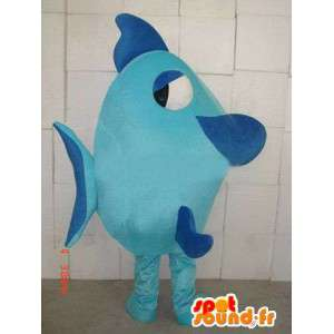 Mascot Blue Fish - quality fabric - Costume marine animal