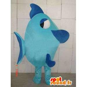 Mascotte Poisson bleu - Tissu de qualité - Costume animal marin