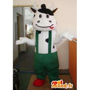緑のサスペンダーパンツ付きのクラシックな牛のマスコット-MASFR00321-牛のマスコット