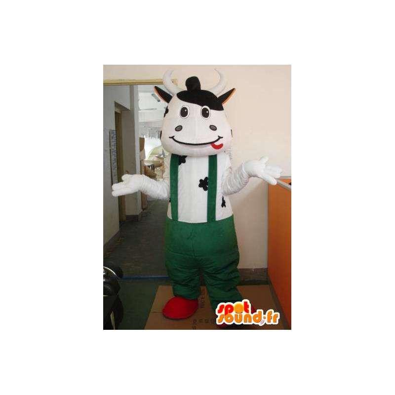 Maskotti klassinen lehmä vihreillä henkselit - MASFR00321 - lehmä Maskotteja
