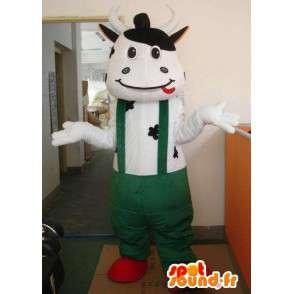 Mascotte vache classique avec pantalon à bretelles vertes - MASFR00321 - Mascottes Vache