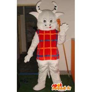 Mascote chifres de vaca com pequeno colete listrado - transporte rápido