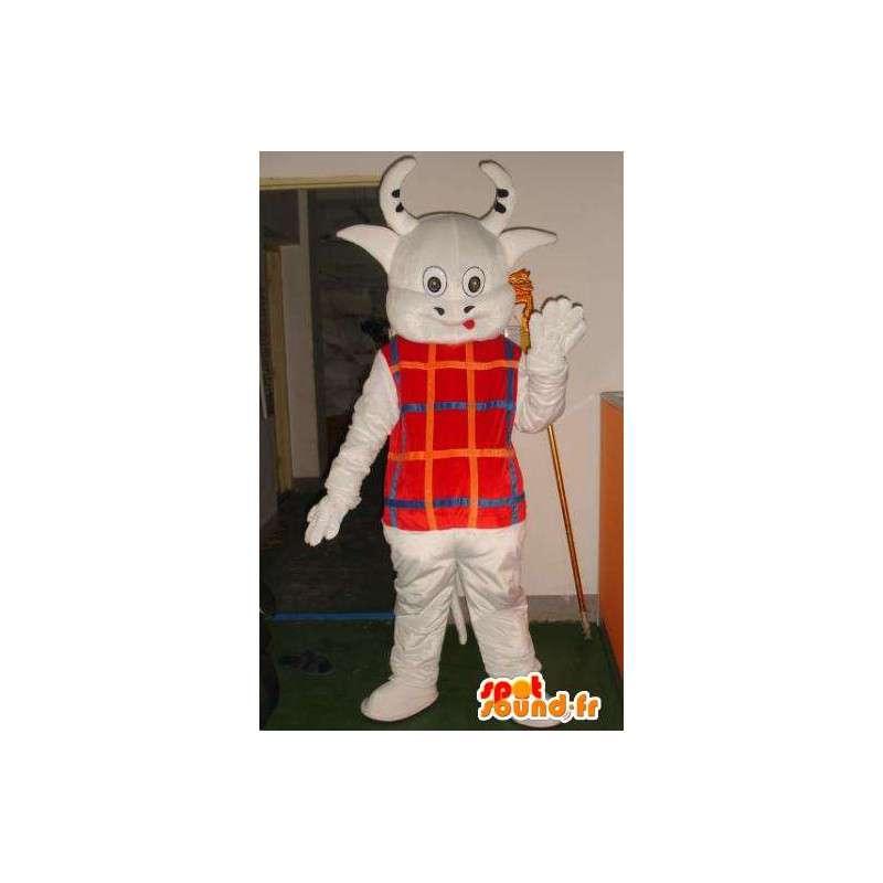 Mascot koeienhoorns met kleine gestreepte vest - Fast shipping - MASFR00323 - koe Mascottes