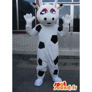 大きな牛乳牛のマスコット-黒と白の家畜の衣装-MASFR00316-牛のマスコット