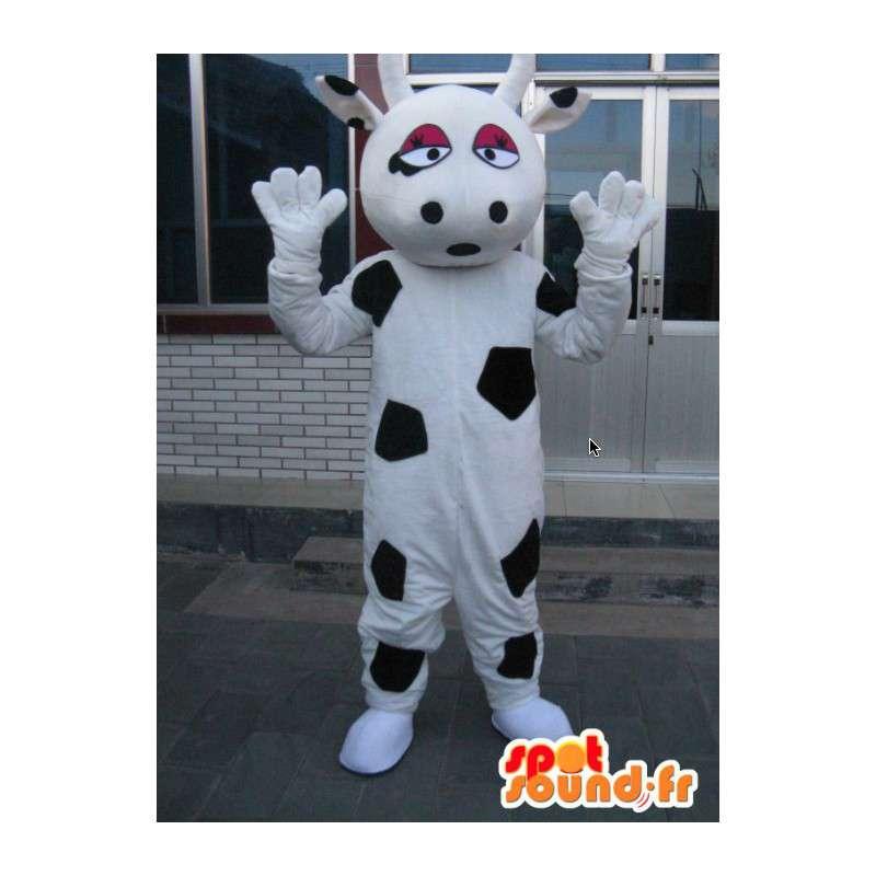 Latte mascotte grande mucca - Costume fattoria degli animali in bianco e nero - MASFR00316 - Mucca mascotte