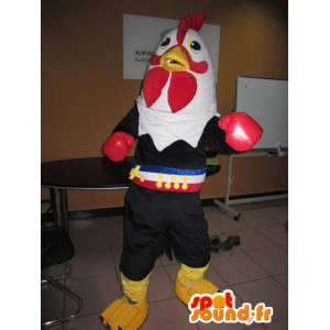 Mascot rooster with boxing gloves punch - Costume thai boxer