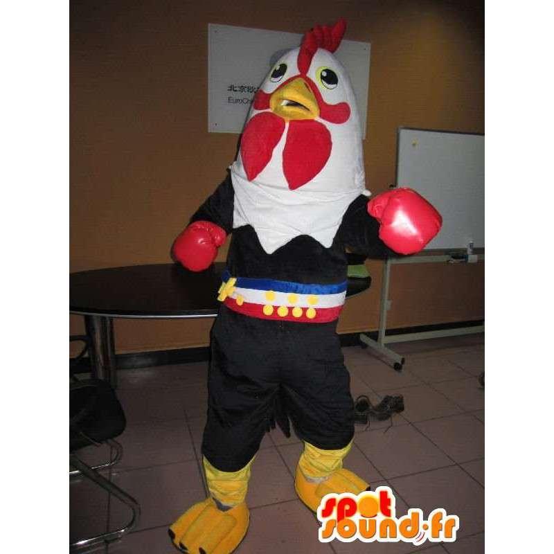 Mascot haan bokshandschoenen met puncher - Costume thai boxer - MASFR00318 - Mascot Hens - Hanen - Kippen