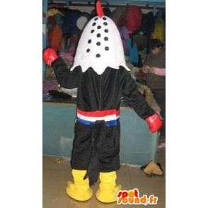 Gallo de la mascota con guantes de boxeo puncher - Traje boxeador tailandés - MASFR00318 - Mascota de gallinas pollo gallo