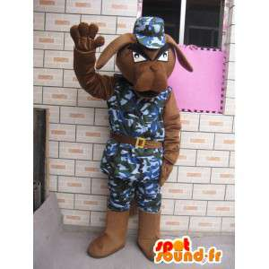 Dog mascot military fatigues and helmet blue army