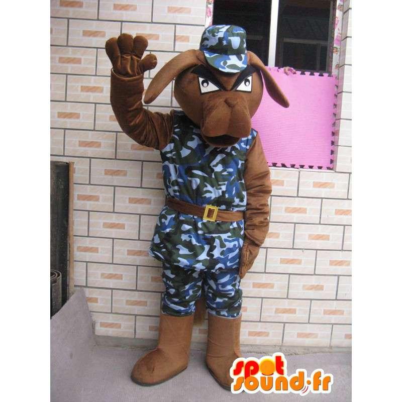 犬のマスコット軍事メッシュと軍の青いヘルメット - MASFR00228 - 犬マスコット