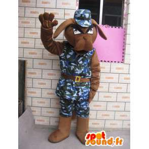 Dog mascot military fatigues and helmet blue army - MASFR00228 - Dog mascots