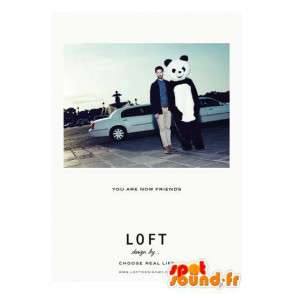 Panda μασκότ κλασικό μαύρο και λευκό αρκουδάκι - Βραδινά κοστούμια - MASFR00212 - pandas μασκότ