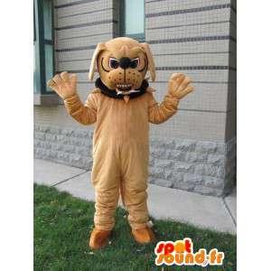 Cão mascote bulldog - mastiff marrom Costume com colar