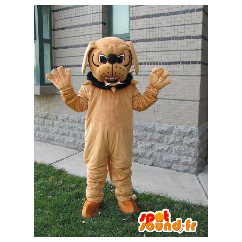 Dog mascotte bulldog - Costume bruin mastiff met halsband - MASFR00548 - Dog Mascottes