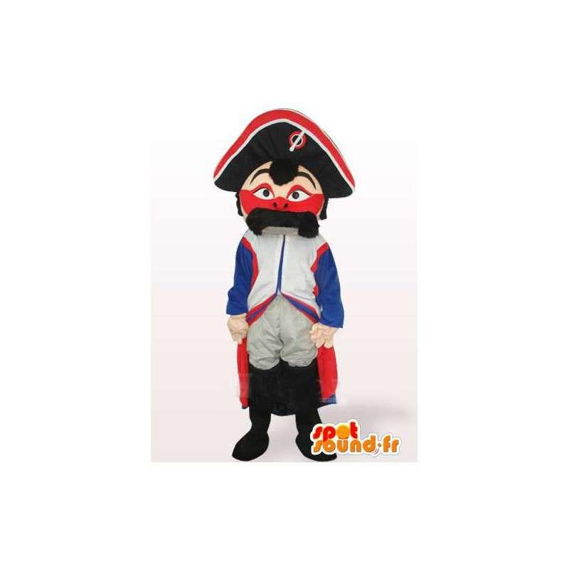 Französisch Gendarme Maskottchen Schnurrbart-Militär Rot Weiß Blau - MASFR00549 - Menschliche Maskottchen