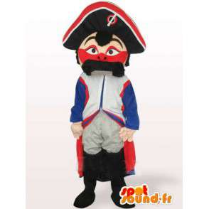 French Gendarme mascot mustache Military-blue white red - MASFR00549 - Human mascots