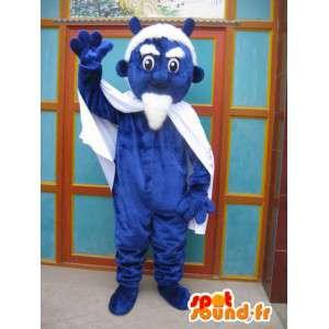 Μπλε διάβολος μασκότ με κάπα και αξεσουάρ - κοστούμι τέρας