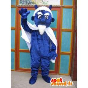 Μπλε διάβολος μασκότ με κάπα και αξεσουάρ - κοστούμι τέρας - MASFR00551 - μασκότ τέρατα
