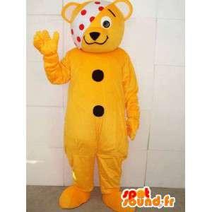 Maskot nemocný medvídek se žlutou banner má hrášek