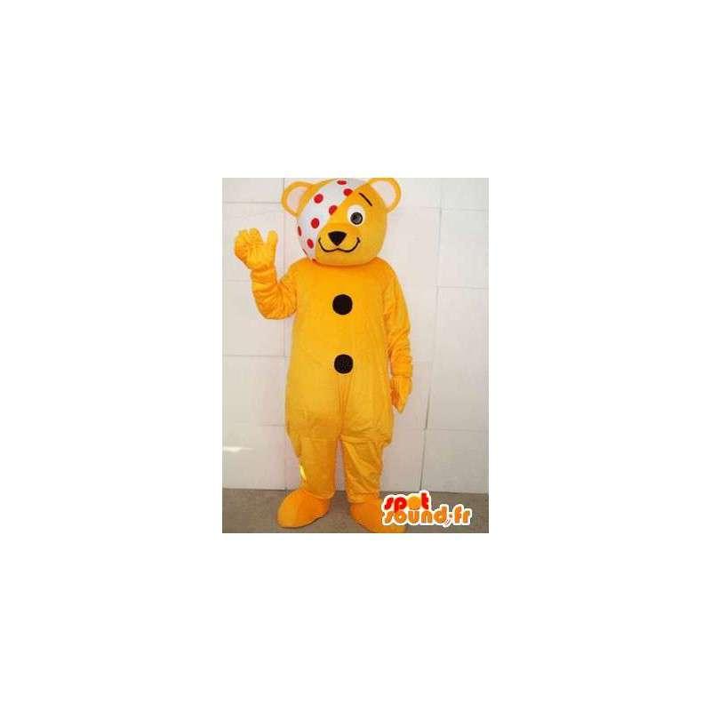 Μασκότ άρρωστη αρκουδάκι με κίτρινο banner έχει μπιζέλια - MASFR00553 - Αρκούδα μασκότ