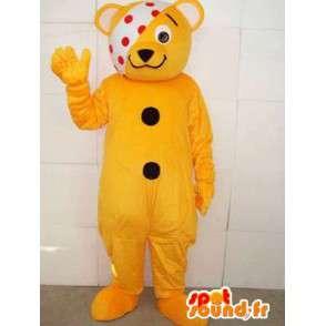 Mascotte ziek teddy met gele banner heeft erwten - MASFR00553 - Bear Mascot