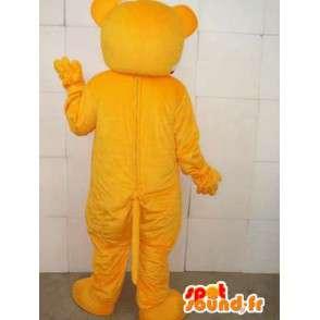 Maskot nemocný medvídek se žlutou banner má hrášek - MASFR00553 - Bear Mascot