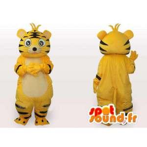 Mascotte de chat rayé jaune et noir - Costume peluche de chat