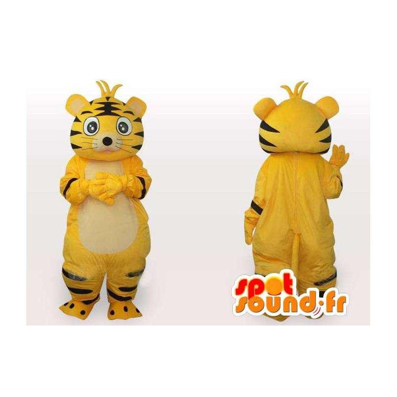 Mascot amarillo y negro a rayas del gato - Traje gato de felpa - MASFR00554 - Mascotas gato