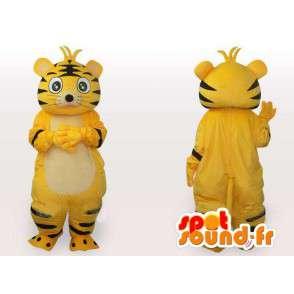 Γάτα μασκότ ριγέ κίτρινο και μαύρο - γάτα βελούδου κοστουμιών - MASFR00554 - Γάτα Μασκότ