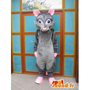 Mascotte de souris grise et rose - Costume ratatouille - Déguisement