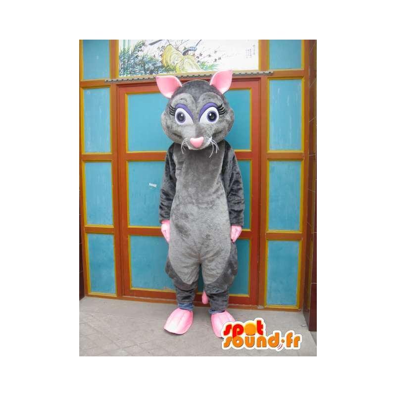 Gris ratón de la mascota y rosa - ratatouille - Disfraces - MASFR00555 - Mascota del ratón