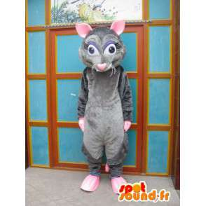 Mascotte de souris grise et rose - Costume ratatouille - Déguisement - MASFR00555 - Mascotte de souris