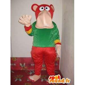 Colored hippo mascot - Costume elephant seal - Plush