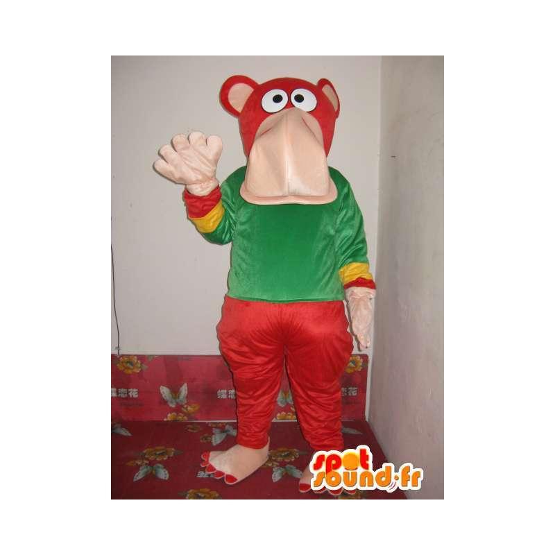 Mascot gekleurde hippo - marine olifant kostuum - Plush - MASFR00317 - Elephant Mascot